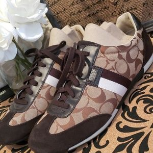 COACH JOSS BROWN/TAN CANVAS/LEATHER SNEAKERS